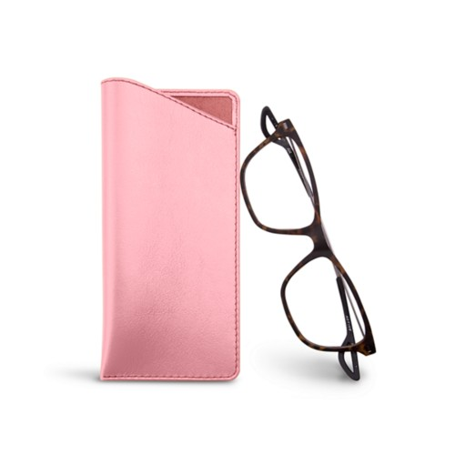 Thin glasses cases - Pink - Smooth Leather