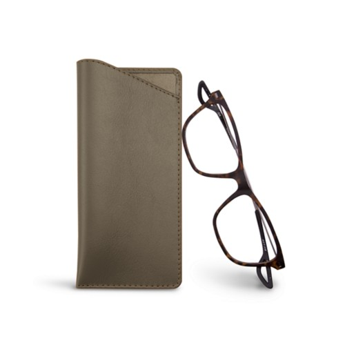 Thin glasses cases - Dark Taupe - Smooth Leather