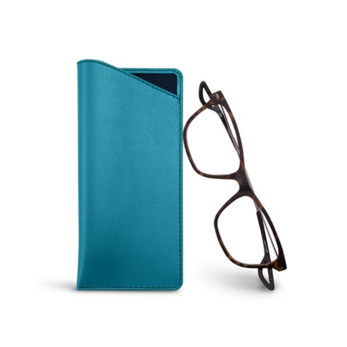 Thin glasses cases - Turquoise - Smooth Leather