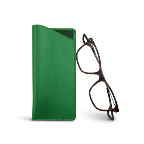 Thin glasses cases - Light Green - Smooth Leather