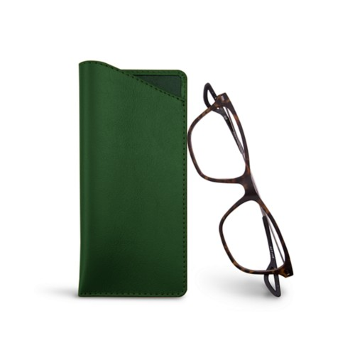 Thin glasses cases - Dark Green - Smooth Leather