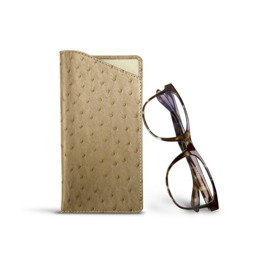 Case for standard size glasses - Beige - Real Ostrich Leather