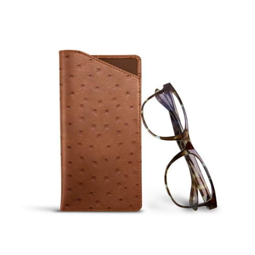 Case for standard size glasses - Tan - Real Ostrich Leather