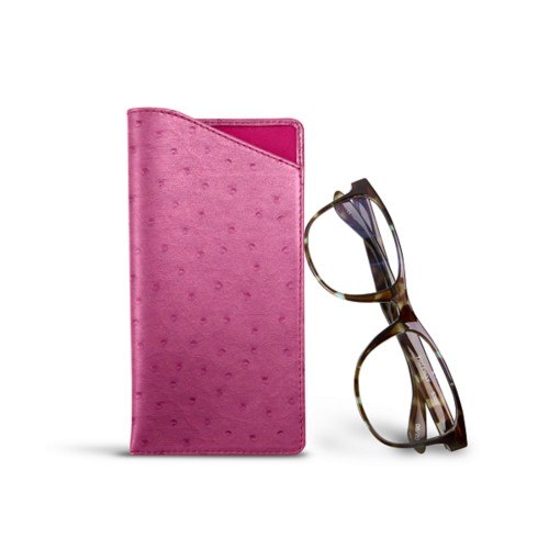 Case for standard size glasses - Fuchsia  - Real Ostrich Leather