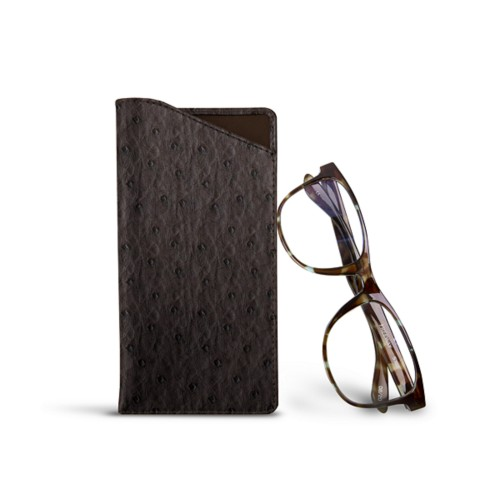 Case for standard size glasses - Dark Brown - Real Ostrich Leather