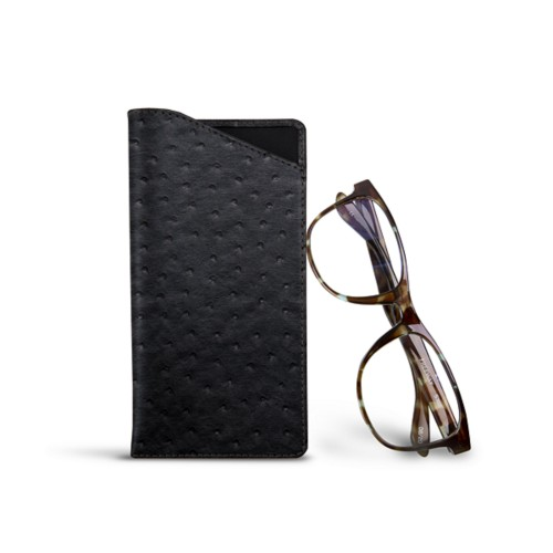 Case for standard size glasses - Black - Real Ostrich Leather