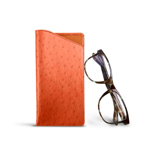 Case for standard size glasses - Orange - Real Ostrich Leather