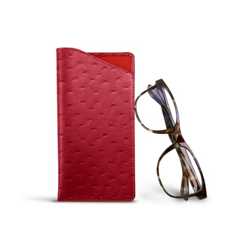 Case for standard size glasses - Red - Real Ostrich Leather