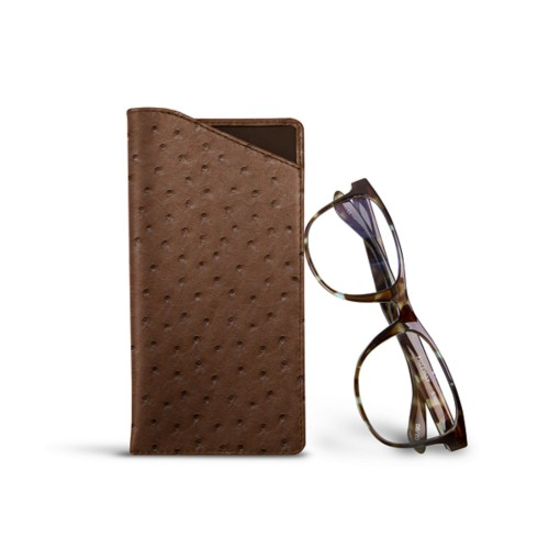 Case for standard size glasses - Tobacco - Real Ostrich Leather