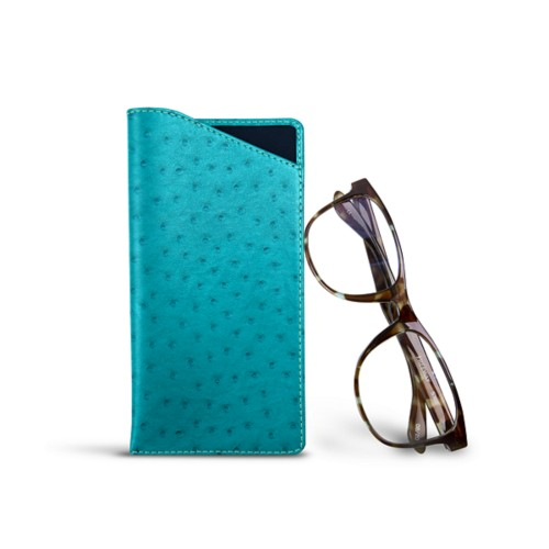 Case for standard size glasses - Turquoise - Real Ostrich Leather