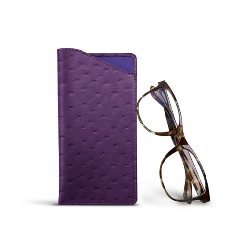 Case for standard size glasses - Purple - Real Ostrich Leather