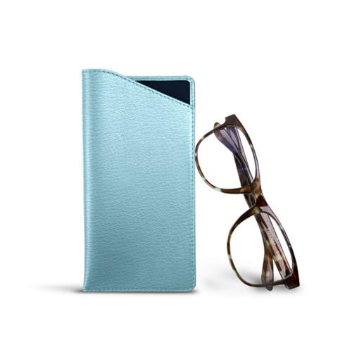 Case for Standard Size Glasses - Sky Blue - Goat Leather