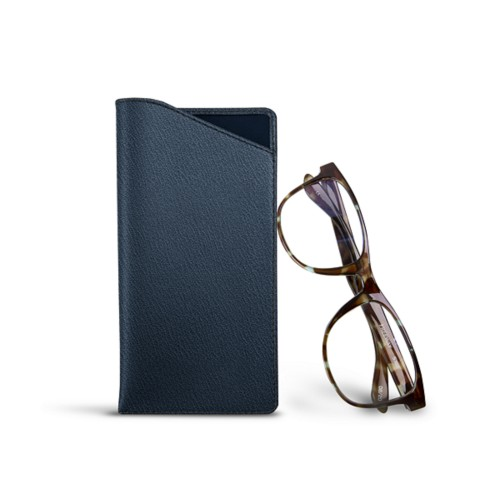 Case for standard size glasses - Navy Blue - Goat Leather