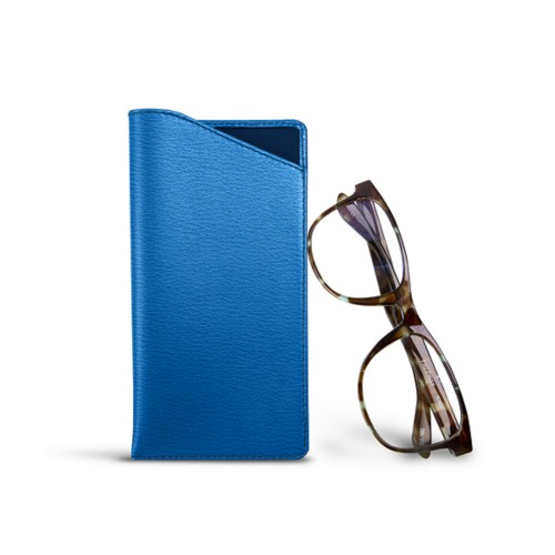 Case for standard size glasses - Royal Blue - Goat Leather