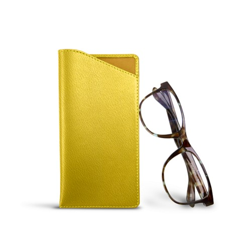 Case for standard size glasses - Lemon yellow - Goat Leather