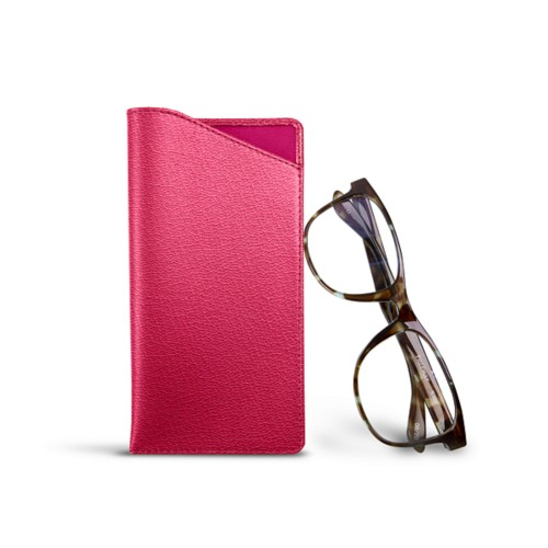 Case for standard size glasses - Fuchsia  - Goat Leather