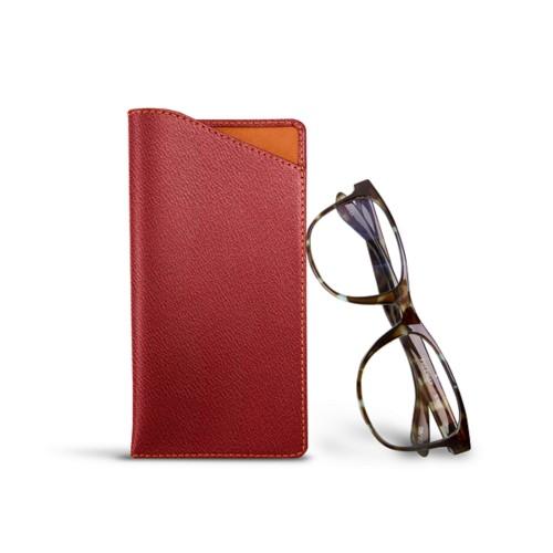 Housse pour lunettes standards - Rose Saumon - Cuir de Chèvre