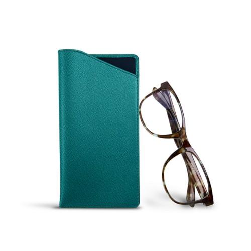 Housse pour lunettes standards - Vert Océan - Cuir de Chèvre