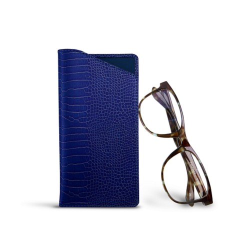 Case for standard size glasses - Royal Blue - Crocodile style calfskin