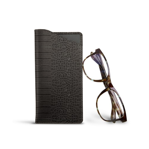 Case for standard size glasses - Mouse-Grey - Crocodile style calfskin