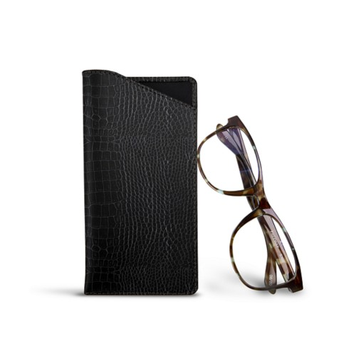 Case for standard size glasses - Black - Crocodile style calfskin