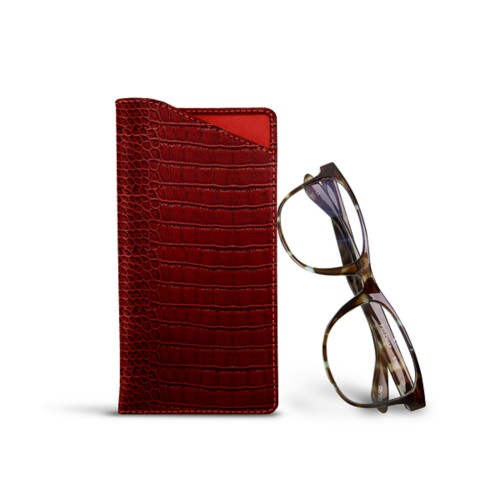 Case for standard size glasses - Red - Crocodile style calfskin