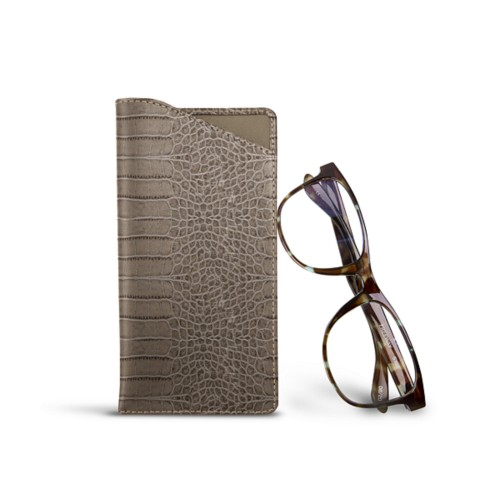 Case for standard size glasses - Light Taupe - Crocodile style calfskin