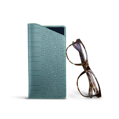 Case for standard size glasses - Turquoise - Crocodile style calfskin