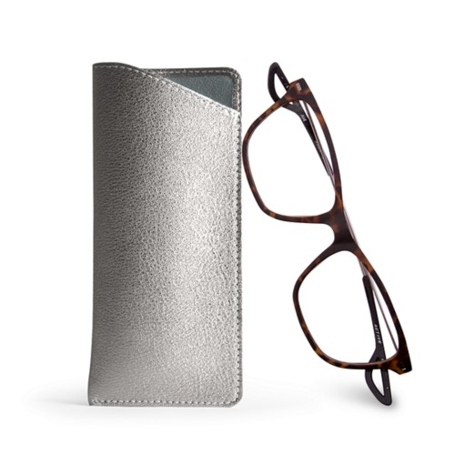 Case for standard size glasses - Silver - Metallic Leather