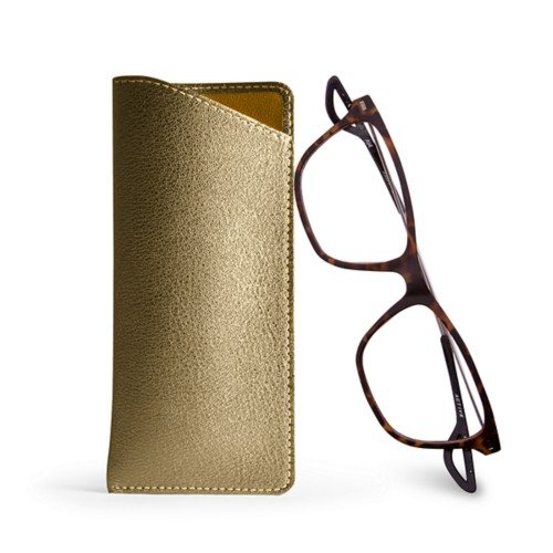 Case for standard size glasses - Golden - Metallic Leather