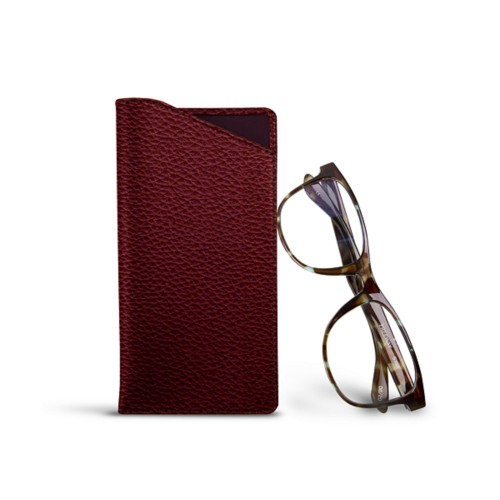 Case for standard size glasses - Burgundy - Granulated Leather