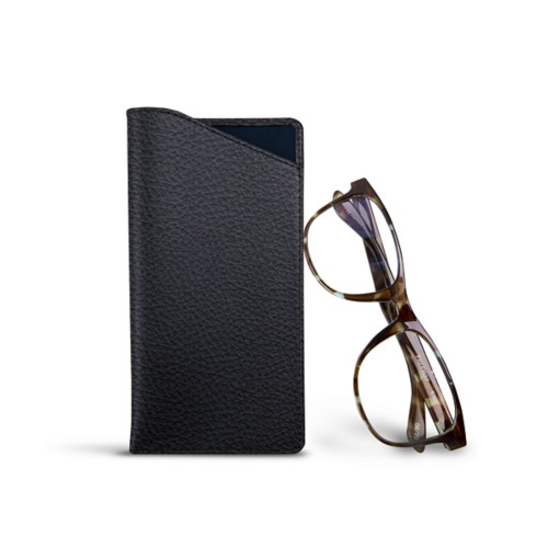 Case for standard size glasses - Navy Blue - Granulated Leather
