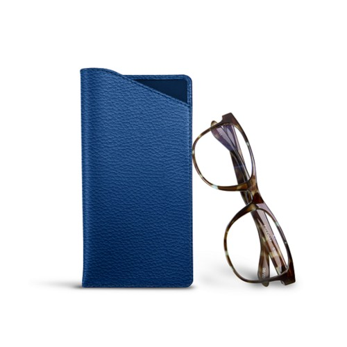 Case for standard size glasses - Royal Blue - Granulated Leather
