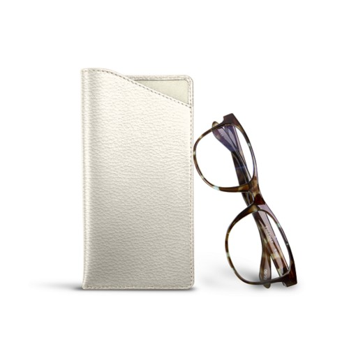 Case for standard size glasses - Off-White - Granulated Leather