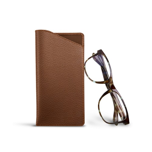 Case for standard size glasses - Tan - Granulated Leather