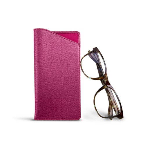 Case for standard size glasses - Fuchsia  - Granulated Leather