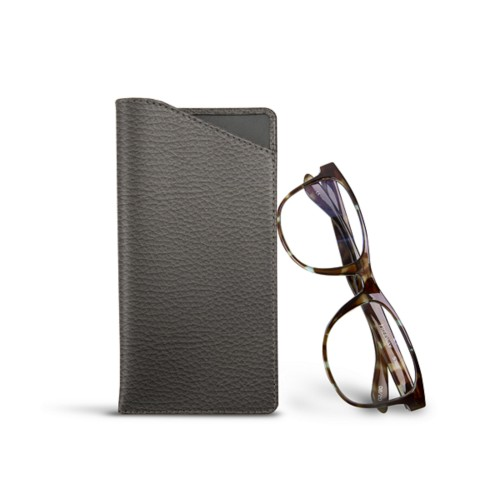 Case for standard size glasses - Mouse-Grey - Granulated Leather