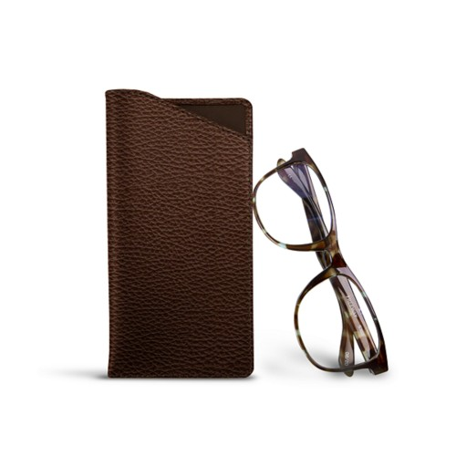 Case for standard size glasses - Dark Brown - Granulated Leather
