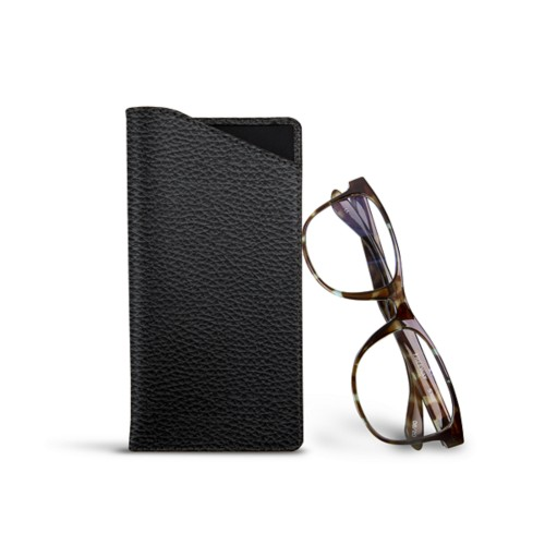 Case for standard size glasses - Black - Granulated Leather