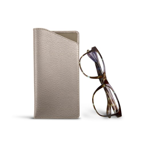 Case for standard size glasses - Light Taupe - Granulated Leather