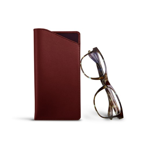 Case for standard size glasses - Burgundy - Smooth Leather
