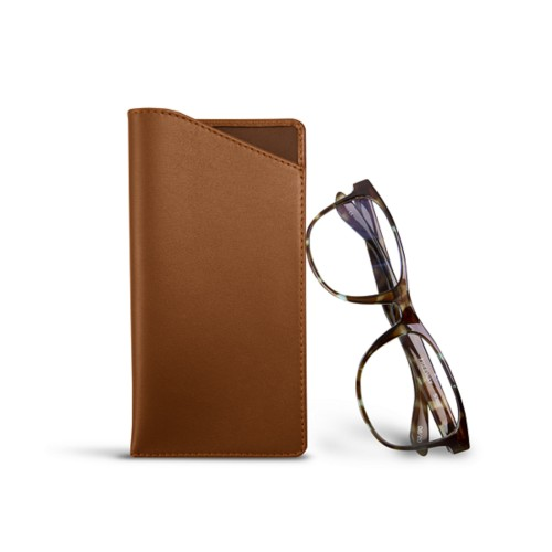 Case for standard size glasses - Tan - Smooth Leather
