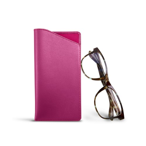 Case for standard size glasses - Fuchsia  - Smooth Leather