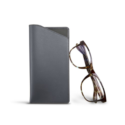 Case for standard size glasses - Mouse-Grey - Smooth Leather