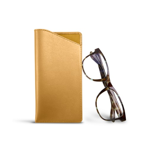 Case for standard size glasses - Mustard Yellow - Smooth Leather