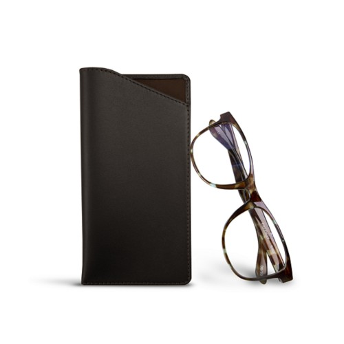 Case for standard size glasses - Dark Brown - Smooth Leather