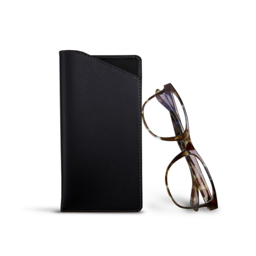 Case for standard size glasses - Black - Smooth Leather
