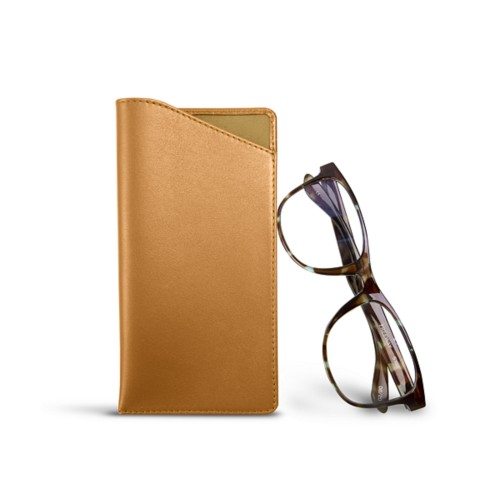 Case for standard size glasses - Natural - Smooth Leather