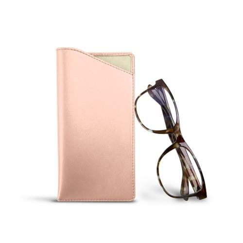 Etui für Brillen in Standardgröße - Nude - Glattleder