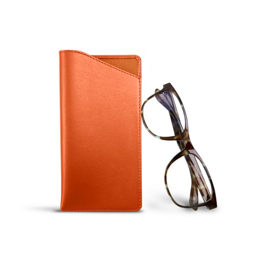 Case for standard size glasses - Orange - Smooth Leather